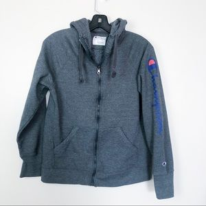 Champion Logo Sleeve Zip Up Hooded Sweater